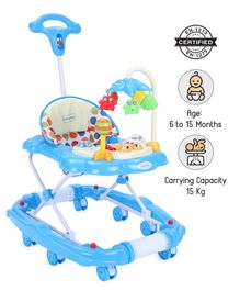Babyhug Little Explorer Walker Cum Rocker with Parent Push Handle & 4 Level Height Adjustment - Blue