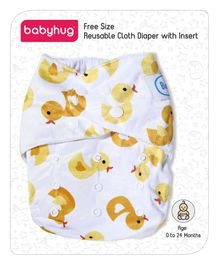 Babyhug Free Size Reusable Cloth Diaper With Insert Duck Print - White