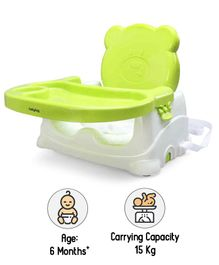 Babyhug Raise Me Up Baby Booster Seat With Adjustable Food Tray & 3 Point Safety Harness - Green White