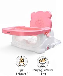 Babyhug Raise Me Up Baby Booster Seat With Adjustable Food Tray & 3 Point Safety Harness - Pink White