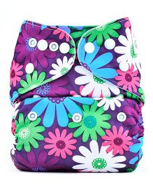 Bumberry Pocket Cloth Diaper With One Microfiber Insert - Purple Flowers
