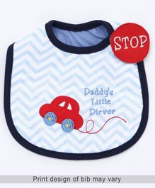 Babyhug Knitted Velcro Bib Little Driver Embroidery - White
