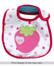 Babyhug Bib Strawberry Embroidery - White And Pink