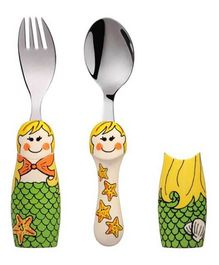 Eat4Fun Duo Kids Flatware Set Mermaid Pack Of Fork Spoon & 1 Holder - Yellow Green