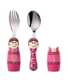 Eat4Fun Duo Kids Flatware Set Ballerina Pack of Fork Spoon and 1 Holder - Pink