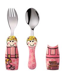 Eat4Fun Duo Kids Flatware Set Pink Girl Pack of Fork Spoon and 1 Holder - Pink