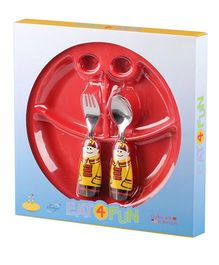Eat4Fun Sectioned Plate Fireman Spoon and Fork Set - Yellow and Red