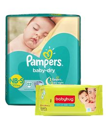 Pampers Baby Dry Diaper Newborn To Small - 22 Pieces with Babyhug Premium Baby Wipes - 80 Pieces (Pack of 2)