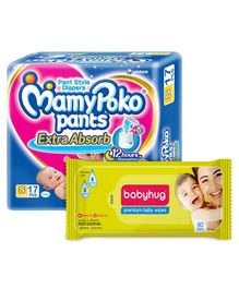 Mamy Poko Extra Absorb Pant Style Diaper Small -17 Pieces & Babyhug Premium Baby Wipes - 80 Pieces