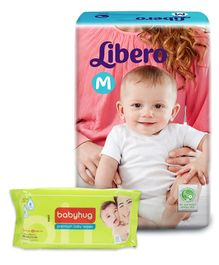Libero Baby Diaper Medium - 5 Pieces and Babyhug Premium Baby Wipes - 80 Pieces - Pack of 2