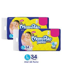 MamyPoko Pants Standard Pant Style Diapers Large - 34 Pieces (Pack Of 2)
