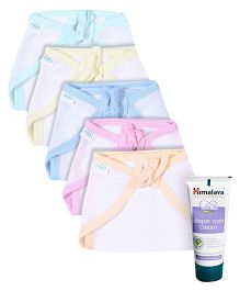 Babyhug U Shape Muslin Nappy Set Medium Pack Of 5 - Multicolor- 1 Qty and Himalaya Herbal Diaper Rash Cream - 50 grams- 1 Qty