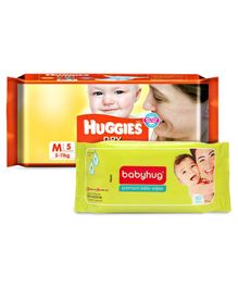 Huggies Dry Taped Diapers Medium Size - 5 Pieces & Babyhug Premium Baby Wipes - 80 Pieces