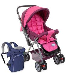 Babyhug Cocoon Stroller - Fuchsia and Babyhug Comfort Nest 3 Way Baby Carrier - Navy Blue