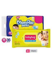 Babyhug Premium Baby Wipes - 80 Pieces AND Mamy Poko Standard Pant Style Diapers Medium - 36 Pieces