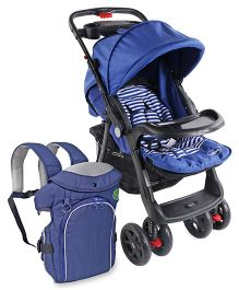 Babyhug Wander Buddy Stroller - Blue AND Babyhug Comfort Nest 3 Way Baby Carrier - Navy Blue