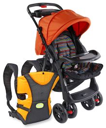 Babyhug Wander Buddy Stroller - Orange & Black AND Babyhug Kangaroo Pouch 3 Way Baby Carrier - Orange & Black