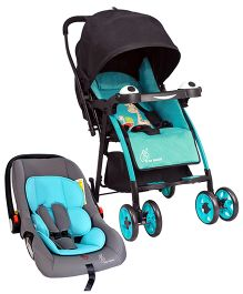 R for Rabbit Poppins An Ideal Pram For Moms - Blue & Black AND R for Rabbit Picaboo Rear Facing Infant Car Seat Cum Carry Cot - Grey And Blue