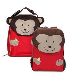 My Milestones Toddler And Kids Backpack & Lunch Bag Monkey Red - 13 inch