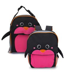 My Milestones Toddler Kids Backpack & Lunch Bag Penguin Navy Pink - 13 inch
