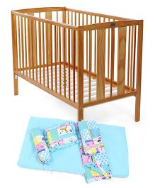 Babyhug Malmo Cot - Natural Babyhug Sleepwell Cot Bedding Set - Blue