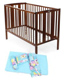 Babyhug Malmo Cot - Walnut Color Babyhug Sleepwell Cot Bedding Set - Pink