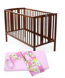 Babyhug Malmo Cot - Walnut Color Babyhug Sleepwell Cot Bedding Set - Blue