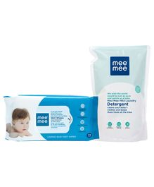 Mee Mee Caring Baby Wet Wipes - 72 Pieces AND Mee Mee Baby Laundry Detergent - 1 2 Litres