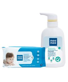 Mee Mee Caring Baby Wet Wipes - 72 Pieces AND Mee Mee Baby Accessories And Vegetable Liquid Cleanser - 300 ml