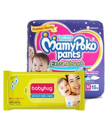 MamyPoko Extra Absorb Pant Style Diapers Medium -15 Pieces & Babyhug Premium Baby Wipes - 80 Pieces