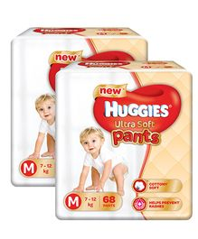 Huggies Ultra Soft Pants Medium Size Premium Diapers - 68 Pieces Pack Of 2