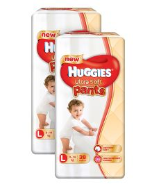 Huggies Ultra Soft Pants Large Size Premium Diapers - 38 Pieces Pack Of 2