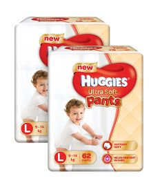 Huggies Ultra Soft Pants Large Size Premium Diapers - 62 Pieces Pack Of 2