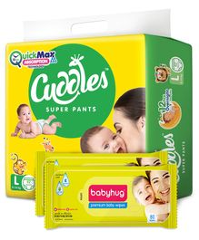 Cuddles Pant Style Diapers Large - 62 Pieces & 2 Packs Babyhug Premium Baby Wipes - 80 Pieces
