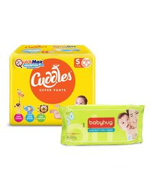 Cuddles Pant Style Diapers Small - 20 Pieces & Babyhug Premium Baby Wipes - 80 Pieces