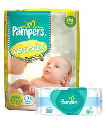 Pampers Active Baby Diapers New Born - 72 Pieces & Pampers Fresh Clean Baby Wipes - 64 Pieces