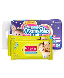 MamyPoko Extra Absorb Pant Style Diapers Medium - 40 Pieces & 2 Packs of Babyhug Premium Baby Wipes - 80 Pieces