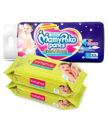 MamyPoko Extra Absorb Pant Style Diapers Large - 32 Pieces & 2 Packs of Babyhug Premium Baby Wipes - 80 Pieces