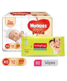 Huggies Ultra Soft Premium Pants For New Baby - 20 Pieces & Babyhug Premium Baby Wipes - 80 Pieces