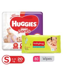 Huggies Wonder Pants Small Size Diapers - 20 Pieces & Babyhug Premium Baby Wipes - 80 Pieces