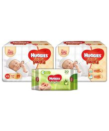 Huggies Ultra Soft Premium Pants For New Baby - 20 Pieces (Pack of 2) & Huggies Nourishing Clean Baby Wipes with Cucmber & Aloe Vera - 20 Pieces