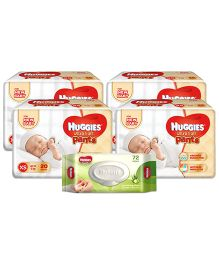 Huggies Ultra Soft Premium Pants For New Baby - 20 Pieces (Pack of 4) & Huggies Nourishing Clean Baby Wipes with Cucmber & Aloe Vera - 72 Pieces