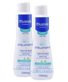 Mustela Stelatopia Bath Oil - 200 ml - Pack  Of 2
