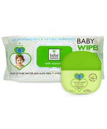 Bebe Combo pack Diaper Rash Cream & Bebe Nature Biodegradable Wet Baby Wipes