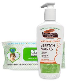 Combo Pack Palmers Cocoa Butter Formula Massage Lotion & Bebe Nature Biodegradable Wet Baby Wipes