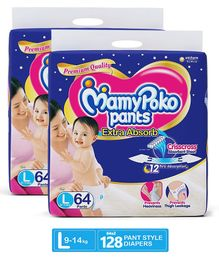 MamyPoko Extra Absorb Pant Style Diapers Large - 64 Pieces (Pack of 2)