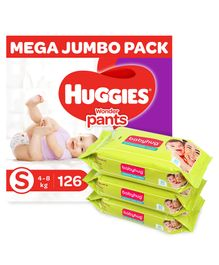 Huggies Wonder Pants Diaper Monthly Pack Small Size - 126 Pieces & Babyhug Premium Baby Wipes - 80 Pieces ( Pack of 3 )