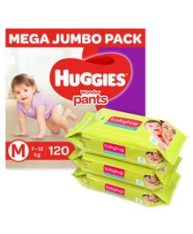Huggies Wonder Pants Diaper Monthly Pack Medium Size - 120 Pieces & Babyhug Premium Baby Wipes - 80 Pieces ( Pack of 3 )