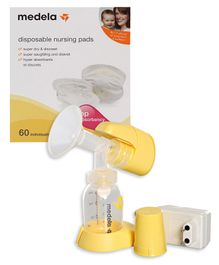 Combo of Medela - Mini Electric Breast Pump & Medela Disposable Bra Pads - 60 Pieces