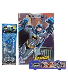 DC Comics Batman Exam Clipboard - Multi Color & DC Comics Batman Print Pencil Box - Royal Blue & Sticker Bazaar Batman Stationery Set - 5 Pieces